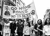 Protest opposing the State visit of the US President Ronald Reagan to the UK 1982 London - Stefano Cagnoni - 1980s,1982,activist,activists,against,American,americans,Anti Nuclear weapons,anti-nuclear,banner,banners,Campaign for Nuclear Disarmament,CAMPAIGNING,CAMPAIGNS,CND,CND Symbol,DEMONSTRATING,demonstrat