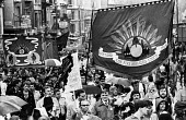 FBU trade union banners with the Peoples March for Jobs protest as it arrival in London 1983 - Stefano Cagnoni - ,1980s,1983,activist,activists,adult,adults,banner,banners,Bill Deal,CAMPAIGN,campaigner,campaigners,CAMPAIGNING,CAMPAIGNS,DEMONSTRATING,demonstration,DEMONSTRATIONS,FBU,fire brigade,Firefighter,firef