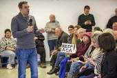 Hastings, Michigan USA. Opposition to Republican plan repeal of the Affordable Care Act. Republican Congressman Justin Amash holding a town hall meeting to hear from his angry constituents - Jim West - 2010s,2017,ACA,Affordable Care Act,America,american,americans,anger,angry,argue,arguing,argument,care,Congress,Congressional Town Hall,Congressman,constituents,debate,debating,democracy,discussing,dis