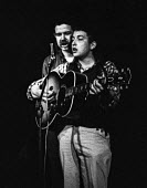 Bob Dylan playing a gig with folk singer Dave Van Ronk in a club in Greenwich Village, New York, 1961 before the first Bob Dylan album - NLA - 23-04-1961