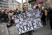 Stand up to Racism protest, UN Anti Racism Day, London. No one chooses to be a refugee but you can choose not to be a knobhead - Jess Hurd - 2010s,2017,activist,activists,Anti Racism,anti racist,BAME,BAMEs,BANNER,banners,BEMM,bigotry,BME,bmes,CAMPAIGN,campaigner,campaigners,CAMPAIGNING,CAMPAIGNS,Day,DEMONSTRATING,demonstration,DEMONSTRATIO