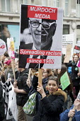 Anti Murdoch media, Barbara Kruger poster, Stand up to Racism protest, UN Anti Racism Day, London. Spreading racism since 1980 - Jess Hurd - 18-03-2017