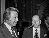 Impresarios Lew Grade (R) and Bernard Delfont at a press conference, London - Peter Arkell - 1970s,1977,ace,Bernard Delfont,boss,bosses,cigar,cigars,conference,conferences,culture,entertainment,Impresario,Impresarios,Lew Grade,London,London Weekend Television,LWT,male,man,management,manager,m
