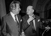 Impresarios Lew Grade (R) and Bernard Delfont at a press conference, London - Peter Arkell - 1970s,1977,ace,Bernard Delfont,boss,bosses,cigar,conference,conferences,culture,entertainment,Impresario,Impresarios,Lew Grade,London,London Weekend Television,LWT,male,man,management,manager,managers