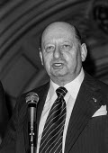 Impresario Lew Grade at a press conference, London - Peter Arkell - 1970s,1977,ace,boss,bosses,conference,conferences,culture,entertainment,impresario,Impresarios,Lew Grade,London,London Weekend Television,LWT,male,man,management,manager,managers,managing,men,people,p