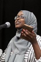 Faduma Miski speaking, Momentum Inaugural Conference, Birmingham - John Harris - 2010s,2017,activist,activists,BAME,BAMEs,Birmingham,Black,Black and White,BME,bmes,CAMPAIGN,campaigner,campaigners,CAMPAIGNING,CAMPAIGNS,Conference,conferences,diversity,equal rights,equality,ethnic,e