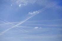 Contrails from passenger Jets in a blue sky, Warwickshire - John Harris - 26-03-2017