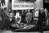 FOE lobby of delegates to the International Whaling Commission meeting to Save the Whales, London 1976. To demand the end of commercial whaling by Russia and Japan - NLA - 21-06-1976