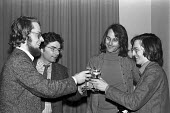 ABC trial and campaign. Duncan Campbell, John Berry and Crispin Aubrey celebrate with Philip Agee after Berry was released from custody - NLA - 1970s,1977,ABC trial,activist,activists,campaign,campaigner,campaigners,campaigning,CAMPAIGNS,Crispin Aubrey,custody,DEMONSTRATING,Demonstration,DEMONSTRATIONS,Duncan Campbell,GCHQ,information,John Be
