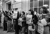 Protest at extradition of Astrid Proll 1978. Proll, a member of the Baader Meinhof group, who had escaped from Germany in 1971 and lived unnoticed in Britain until 1978 when Special Branch discovered... - NLA - 10-10-1978