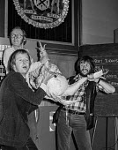 The Goodies (L-R) Graeme Garden, Tim Brooke-Taylor and Bill Oddie with a turkey. Press conference to publicise a new BBC 2 TV series - NLA - 08-12-1978