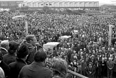 Tony Benn Industry Minister speaking to mass meeting of BAC Concorde workers Filton factory Bristol 1974 - Peter Arkell - 21-03-1974