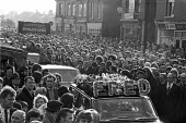 Funeral of Fred Matthews killed by a scab lorry while picketing a Keadby Power Station during the 1972 miners strike, Doncaster. 5,000 miners attended the funeral of the NUM member from Hatfield colli... - Peter Arkell - 1970s,1972,1972 miners strike,Belief,collieries,colliery,conviction,DISPUTE,disputes,faith,Fred Matthews,funeral,funerals,GOD,HAULAGE,HAULIER,HAULIERS,hearse,HGV,INDUSTRIAL DISPUTE,LIFE,LORRIES,lorry,