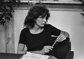 Writer Caryl Churchill 1978 London press conference in protest at cuts to the BBC Play for Today 'The Legion Hall Bombing', about the trial and conviction purely on a contested confession of 16-year-o... - Peter Arkell - 21-08-1978