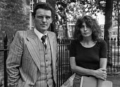 Writer Caryl Churchill with Brendan Gallagher 1978 London press conference in protest at cuts to the BBC Play for Today 'The Legion Hall Bombing'' about the trial and conviction purely on a contested... - Peter Arkell - 21-08-1978