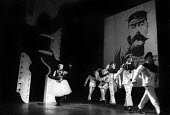 Actor Myvanwy Jenn waves goodbye to soldiers, Theatre Workshop production of Oh What A Lovely War! directed by Joan Littlewood, Theatre Royal Stratford East 1963 - Romano Cagnoni - 19-03-1963