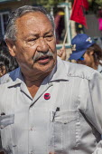 Salinas, Californi, USA Arturo Rodriguez UFW President. Migrant farm workers celebrate Cesar Chavez Day with a Resist Trump march. Protest against anti immmigrant actions and statements by President D... - David Bacon - 02-04-2017