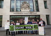 Silent Vigil outside Westminster Magistrates Court in solidarity with family of Rene Tka'cik killed by falling concrete while working on the Crossrail project following an alleged breach of health and... - Stefano Cagnoni - 12-04-2017
