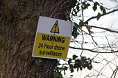 Sign warning of 24 hour drone surveillance over a farm, Warwickshire - John Harris - 07-04-2017