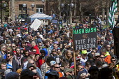 Ann Arbor, Michigan USA. Thousands attended the annual Hash Bash a 45-year tradition advocating the legalization of marijuana, University of Michigan - Jim West - 2010s,2017,ACE,America,Ann Arbor,campus,CAMPUSES,cannabis,counterculture,dope,DRUG,drugs,Festival,festivals,freedom,grass,Hash Bash,illegal,legalisation,legalization,marijuana,Michigan,PEOPLE,pot,recr