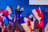 Emmanuel Macron, presidential election candidate for En Marche! rally as he qualifies for the second round, Paris, France - Gilles Rolle - 23-04-2017