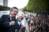 Jean Luc Melenchon, presidential election candidate for La France Insoumise, rally, Paris, France - Nicolas Messyasz - 17-04-2017