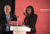 Dawn Butler MP and Jeremy Corbyn, Labour Party election press conference, Tower Hamlets, London - Philip Wolmuth - 2010s,2017,BAME,BAMEs,black,Black and White,BME,bmes,CAMPAIGN,campaigning,CAMPAIGNS,conference,conferences,Dawn,democracy,diversity,election,election campaign,elections,ethnic,ethnicity,FEMALE,general
