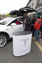 Tesla electric car trade stand Stratford Festival of Motoring, Warwickshire - John Harris - 30-04-2017