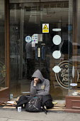 Homeless on th street, closed shop doorway, Stratford upon Avon, Warwickshire - John Harris - 2010s,2017,abject,beg,beggar,beggars,BEGGER,begging,begs,bored,boredom,boring,closed,closing,closure,closures,demoralised,demoralized,depressed,depression,despair,despondent,disinterested,disturbed,do