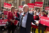 Jeremy Corbyn MP speaking general election campaign meeting Worcester. PPC Joy Squires (L) - John Harris - 2010s,2017,campaign,campaigning,CAMPAIGNS,candidate,candidates,DEMOCRACY,ELECTION,elections,General Election,Jeremy Corbyn,Labour Party,meeting,MEETINGS,POL,political,POLITICIAN,POLITICIANS,Politics,s