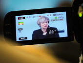 Theresa May Conservatives being filmed speaking to supporters, General election campaign, Linskill Centre, North Shields - Mark Pinder - 2010s,2017,broadcast,broadcasting,camera,cameras,campaign,campaigning,CAMPAIGNS,communicating,communication,CONSERVATIVE,Conservative Party,conservatives,DEMOCRACY,ELECTION,elections,FEMALE,filming,Ge