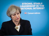 Theresa May Conservatives speaking to supporters, General election campaign, Linskill Centre, North Shields - Mark Pinder - 2010s,2017,campaign,campaigning,CAMPAIGNS,CONSERVATIVE,Conservative Party,conservatives,DEMOCRACY,ELECTION,elections,FEMALE,General Election,MP,MPs,people,person,persons,political,political campaignin
