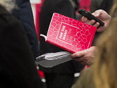 Journalist reading and reporting the manifesto, Labour Party General Election 2017 manifesto launch, Bradford - Mark Pinder - 2010s,2017,campaign,campaigning,CAMPAIGNS,CELLULAR,DEMOCRACY,election,elections,employee,employees,Employment,General Election,Jeremy Corbyn,job,jobs,journalism,journalist,journalists,Labour Party,lau