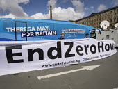 Unite the Union unfurl a banner in front of Conservative Party battle bus against zero hours contracts. Conservatives manifesto launch, Dean Clough Mills, Halifax, Yorkshire, 2017 General Election cam... - Mark Pinder - 2010s,2017,activist,activists,against,anti,banner,banners,bus,bus service,BUSES,campaign,campaigner,campaigners,campaigning,CAMPAIGNS,CONSERVATIVE,Conservative Party,conservatives,contracts,DEMOCRACY,