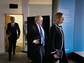 Philip Hammond, Boris Johnson and Amber Rudd, Conservatives manifesto launch, Dean Clough Mills, Halifax, Yorkshire, 2017 General Election campaign - Mark Pinder - 2010s,2017,Amber Rudd,Boris Johnson,campaign,campaigning,CAMPAIGNS,CONSERVATIVE,Conservative Party,conservatives,DEMOCRACY,election,elections,FEMALE,General Election,launch,male,man,manifesto,men,peop