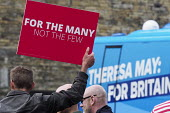 Anti Conservative Party protest outside Conservatives manifesto launch, Dean Clough Mills, Halifax, Yorkshire, 2017 General Election campaign - Mark Pinder - 18-05-2017