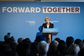 Theresa May speaking, Conservative Party manifesto launch, Dean Clough Mills, Halifax, Yorkshire, 2017 General Election campaign - Mark Pinder - 18-05-2017