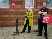 Angela Rayner MP campaigning in support of the Labour candidate Mike Hill, Hartlepool - Mark Pinder - 2010s,2017,age,ageing population,balloon,balloons,campaign,campaigning,CAMPAIGNS,candidate,CANDIDATES,CELLULAR,cities,City,communicating,communication,democracy,elderly,ELECTION,elections,FEMALE,gener