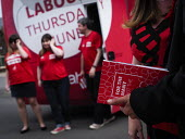 Angela Rayner MP campaigning in support of the Labour Party candidate Mike Hill, Hartlepool. The 2017 manifesto and the For The Many, Not The Few campaign battle bus - Mark Pinder - 28-05-2017