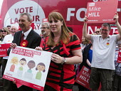 Angela Rayner MP campaigning in support of the Labour candidate Mike Hill, Hartlepool. The 2017 manifesto with the Labour Party For The Many, Not The Few campaign battle bus - Mark Pinder - 28-05-2017