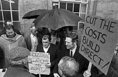 1971 Building workers from the Barbican redevelopment building site protest outside the Department of Employment against The Lump, the practice of big construction companies contracting out much of th... - NLA - 26-04-1971