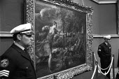 The Death of Actaeon by Italian Renaissance master Titian on sale at Christies, London, under guard London 1971. It was sold for four million dollars to art dealer Julius H. Weitzner - NLA - 1970s,1971,ACE,art,arts,artwork,artworks,auction,auctioneer,auctioneers,AUCTIONS,buy,buyer,buyers,buying,commodities,commodity,culture,dealer,dealers,dealing,Death,Death of Aeteon,DEATHS,died,EBF,Econ