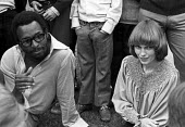 Actress Mia Farrow at rally of US servicemen against Vietnam War, Victoria Park, East London 1971 - NLA - 1970s,1971,ACTING,activist,activists,Actor,actors,actress,actresses,against,american,americans,anti war,Antiwar,anti-war,BAME,BAMEs,Black,Black and White,BME,bmes,CAMPAIGNING,CAMPAIGNS,DEMONSTRATING,D