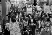 School pupils on strike protest, London 1972. Pupils on strike demanding more democracy in schools and an end to corporal punishment - NLA - 1970s,1972,activist,activists,adolescence,adolescent,adolescents,BAME,BAMEs,Black,Black and White,BME,bmes,boy,boys,CAMPAIGNING,CAMPAIGNS,child,CHILDHOOD,children,corporal,democracy,DEMONSTRATING,Demo