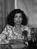 Bianca Jagger speaking about her visit to Nicaragua and the brutality of the Somoza Military dictatorship, International Red Cross press conference, London 1979 - NLA - 1970s,1979,aid agency,armed forces,BAME,BAMEs,Bianca Jagger,Black,BME,bmes,brutality,campaign,campaigning,CAMPAIGNS,celebrities,celebrity,civil rights,conference,conferences,dictator,dictatorship,dive