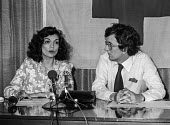 Bianca Jagger speaking about her visit to Nicaragua and the brutality of the Somoza Military dictatorship, International Red Cross press conference, with David Bedford, ICRC press Officer, London 1979 - NLA - 1970s,1979,aid agency,armed forces,BAME,BAMEs,Bianca Jagger,Black,BME,bmes,brutality,campaign,campaigning,CAMPAIGNS,celebrities,celebrity,civil rights,conference,conferences,dictator,dictatorship,dive