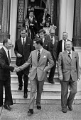 Prince Charles (centre) shaking hands with a staff member AUEW headquarters after visiting the union, Terry Duffy pres AUEW (R) - Peter Arkell - 08-06-1979