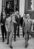 Prince Charles leaving the AUEW headquarters after visiting the union, Terry Duffy pres AUEW (R) - Peter Arkell - 08-06-1979