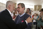 Jeremy Corbyn greeting Mark Serwotka. PCS, Labour Party general election rally, Beeston, Nottingham - John Harris - 2010s,2017,campaign,campaigning,CAMPAIGNS,DEMOCRACY,ELECTION,elections,General Election,greeting,Labour Party,Party,PCS,rallies,rally,supporter,supporters