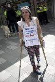 DPAC disabled rights protest, constituency of Theresa May, Maidenhead, Berkshire - Jess Hurd - 2010s,2017,activist,activists,age,ageing population,Austerity Cuts,BENEFIT,benefits,Berkshire,campaign,campaigner,campaigners,campaigning,CAMPAIGNS,constituency,crutches,DEMONSTRATING,Demonstration,DE